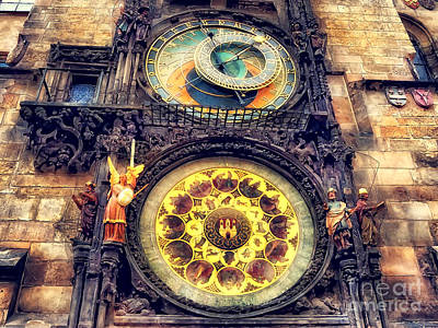 Street Painting - Prague Clock Orloj Watercolor by Justyna JBJart