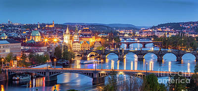 Aerial Photograph - Prague, Czech Republic Bridges Panorama. Charles Bridge And Vltava River At Night by Michal Bednarek
