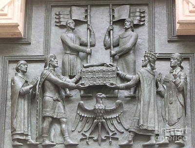 Statues Photograph - Prague Door Statues by Margaret Brooks