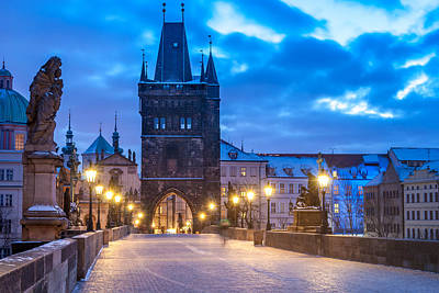 Gothic Bridge Photograph - Prague In Blue by Martin Capek