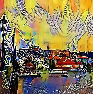 Praha Drawing - Prague Labe - My Www Vikinek-art.com by Viktor Lebeda