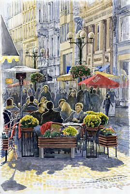 Prague Czech Republic Painting - Prague Mustek First Heat by Yuriy  Shevchuk