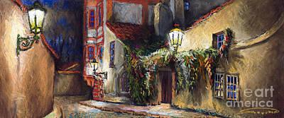 Pastel Painting - Prague Novy Svet Kapucinska Str by Yuriy  Shevchuk