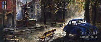 Prague Old Fountain Print by Yuriy  Shevchuk