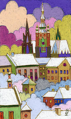 Roofs Painting - Prague Old Roofs Prague Castle Winter by Yuriy  Shevchuk