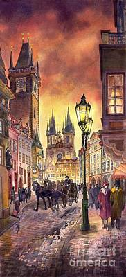 Watercolor Painting - Prague Old Town Squere by Yuriy  Shevchuk