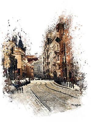 Prague Mixed Media - Prague Street Art by Justyna JBJart