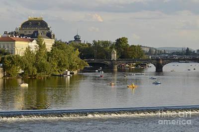 Vltava River Digital Art - Prague-vltava River by Leo Symon