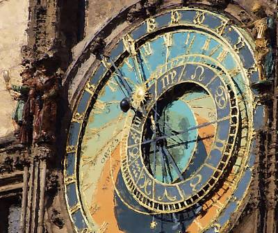 Praha Orloj Print by Shawn Wallwork