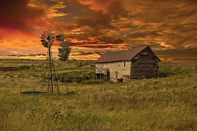 Pasture Scenes Photograph - Prairie Barn by Jonas Wingfield