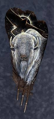 Buffalo Mixed Media - Prairie Eclipse by Sandra SanTara