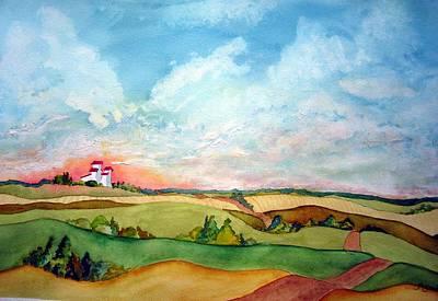 Prairie Sky Painting - Prairie Grain Elevators by Joanne Smoley