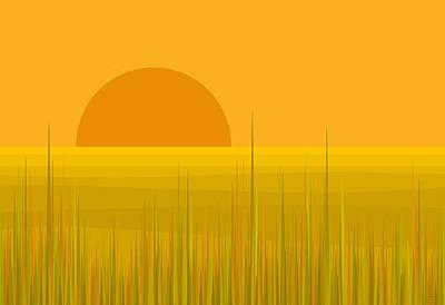 Minimalist Landscape Digital Art - Prairie  Sundown by Val Arie