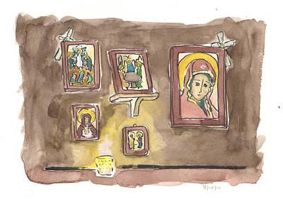 Greek Icon Painting - Prayer Corner by Laura Wilson