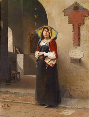 Domenico Induno Painting - Prayer by Domenico Induno