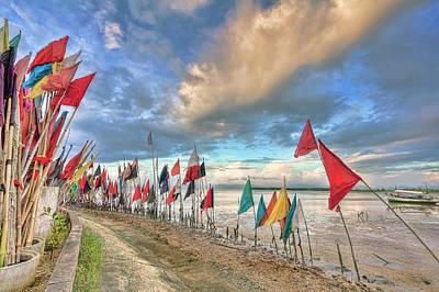 White Photograph - Prayer Flags by Nadia Sanowar