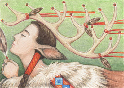 Prayer Of Elk Woman Print by Amy S Turner