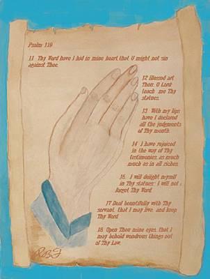 Grandparent Mixed Media - Praying Hands  by Rosie Foshee