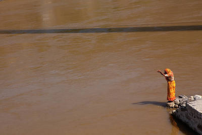 One Woman Only Photograph - Praying On  Banks Of Holy Ganges In Rishike by Claude Renault