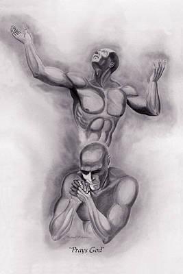 Worship God Drawing - Prays God by Michael McFerrin