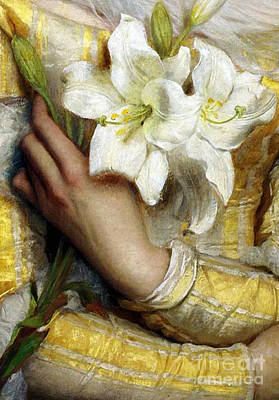 Restore Painting - Pre-raphaelite Woman Clutching White Lilies Detail by Tina Lavoie