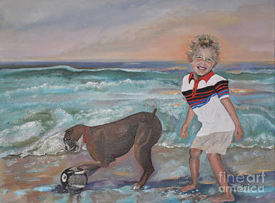 Dog Playing Ball Painting - Precious Moments by Jan Dappen