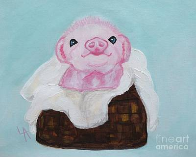 Of A Pig Painting - Precious Piglet by Leslie Allen