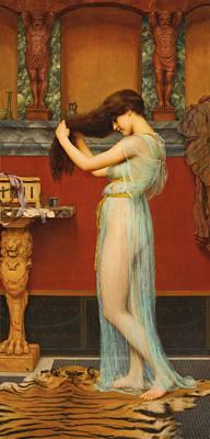 John William Godward Painting - Preparing For The Bath by John William Godward