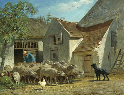 Charles Emile Jacque Painting - Preparing The Flock For Pasture by Charles-Emile Jacque