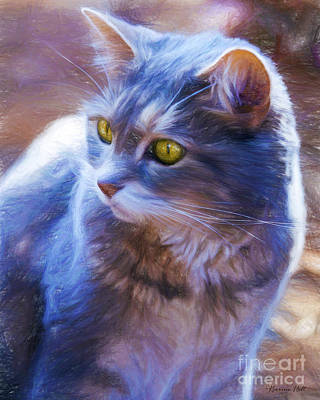 Gray Tabby Digital Art - Present by Korrine Holt