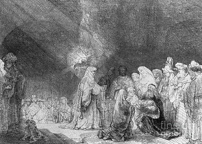 Prayer Drawing - Presentation In The Temple by Rembrandt