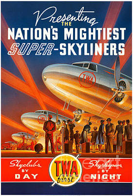 Airliners Painting - Presenting The Nation's Mightiest Super Skyliners by Nostalgic Prints