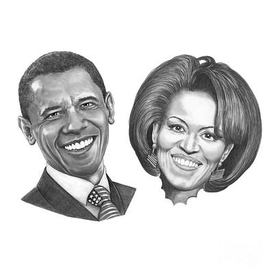 First-lady Drawing - President And First Lady Obama by Murphy Elliott