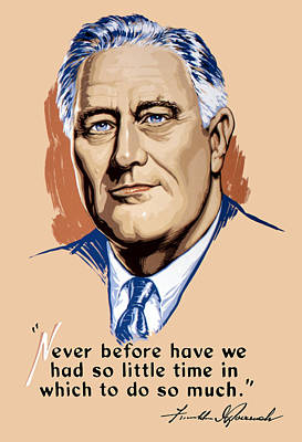 Fdr Painting - President Franklin Roosevelt And Quote by War Is Hell Store