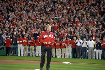 President George W. Bush Throws Print by Everett