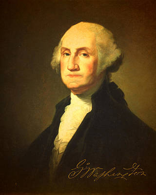 George Washington Mixed Media - President George Washington Portrait And Signature by Design Turnpike
