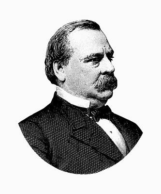 Grover Cleveland Digital Art - President Grover Cleveland - Black And White by War Is Hell Store