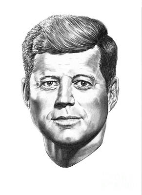Famous People Drawing - President John F. Kennedy by Murphy Elliott
