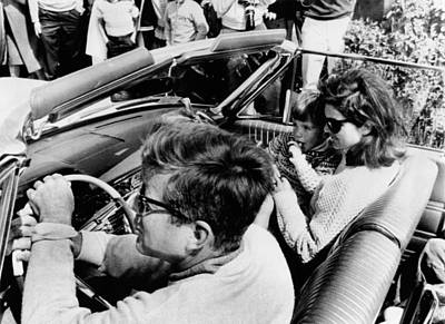 President And First Lady Photograph - President Kennedy Drives An Open Car by Everett