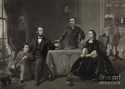 President Lincoln With His Family Print by Science Source