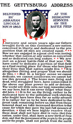 President Lincolns Gettysburg Address Print by Science Source