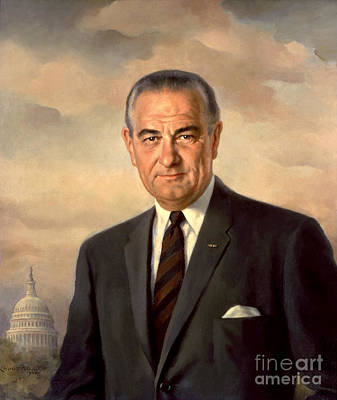 President Painting - President Lyndon Baines Johnson by Celestial Images