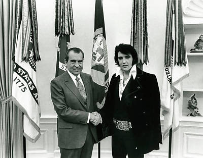 President Nixon And Elvis Presley In Oval Office Print by Daniel Hagerman