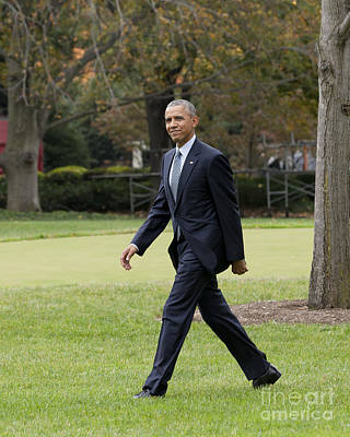 President Obama - White House South Lawn #2 Print by B Christopher
