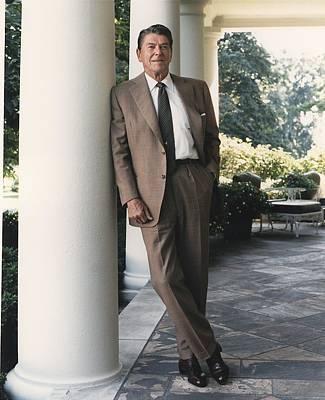 President Reagan On The White House Print by Everett