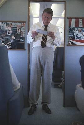 President Reagan Wearing Sweatpants Print by Everett