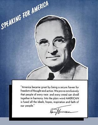 Harry S. Truman Painting - President Truman Speaking For America by War Is Hell Store