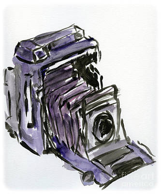 Camera Drawing - Press Camera Watercolor by Caffrey Fielding