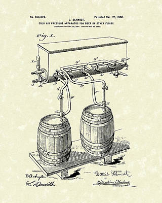 Beer Drawing - Pressure System 1900 Patent Art  by Prior Art Design