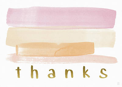 Pretty In Pink Watercolor Stripe Thank You- Art By Linda Woods Print by Linda Woods